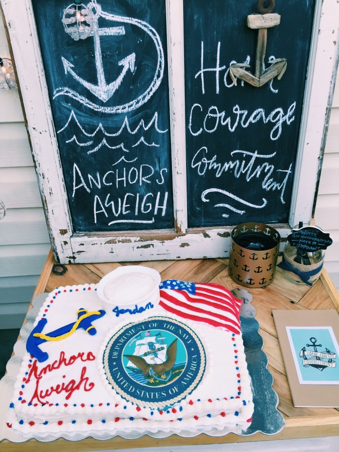 Cake by the amazing Holly Sharpe!... Chalkboard: Salvage Sisters (in Burlington), anchor candle: Hobby Lobby (gift)