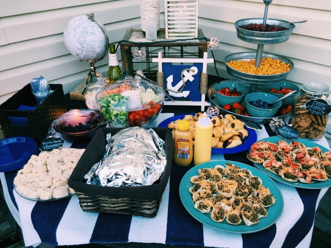 Appetizers included: pigs in a blanket, mini taco cups, ranch bacon pinwheels, strawberries & blueberries, vegetable tray, goldfish and chips ahoy (haha)