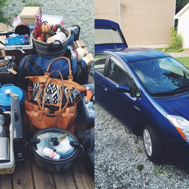 Surprisingly, a lot can fit into a Prius! (not pictured: one dog and two adults)
