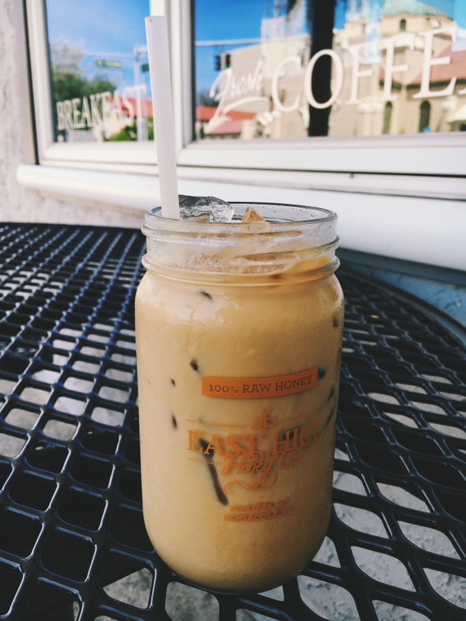 Iced coffee made with delicious local honey from Polonza Bistro!