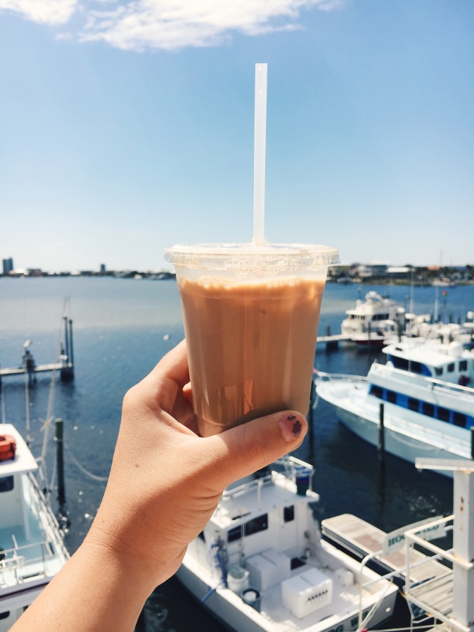 Iced coffee from The Drowsy Poet at Pensacola Beach!